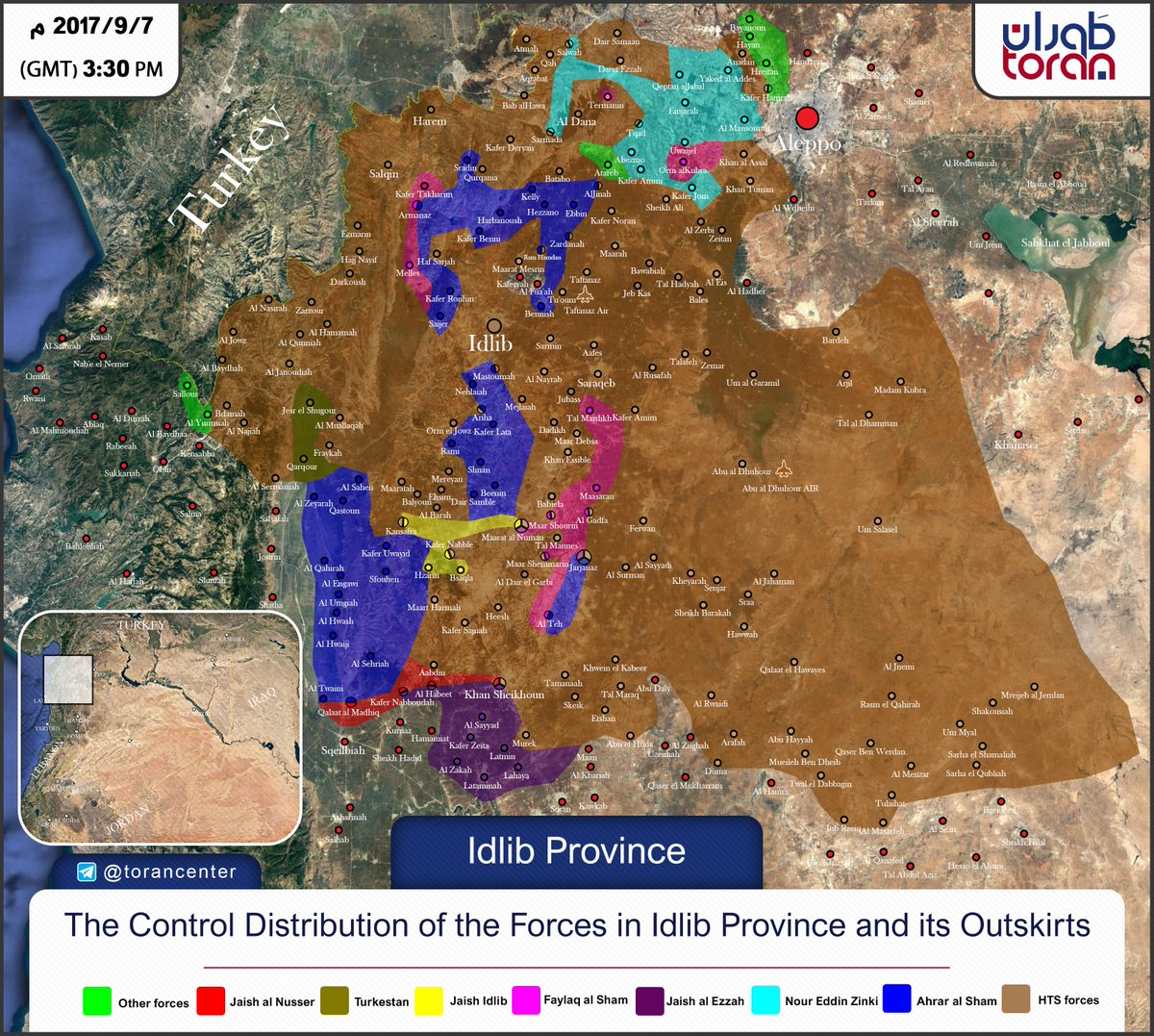 Map of control of factions in Idlib syriancivilwar