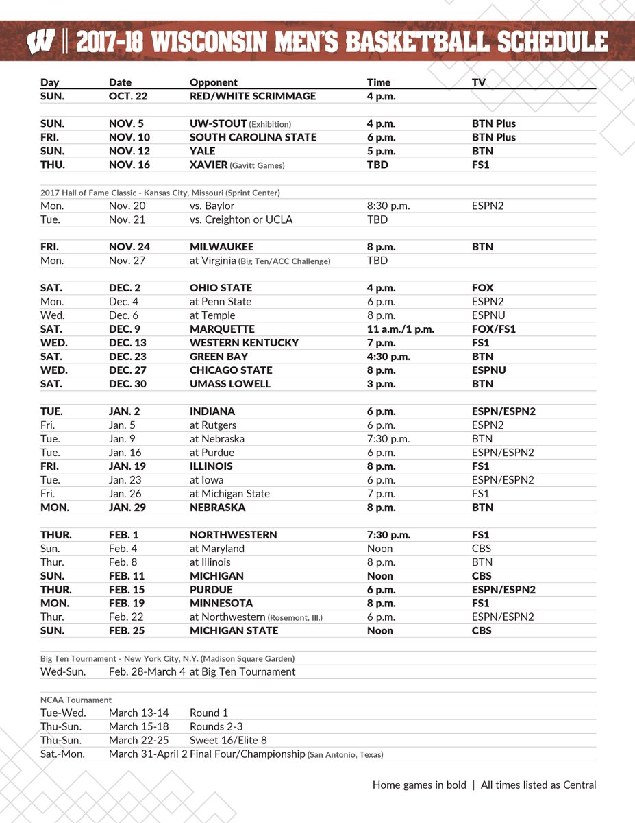 """wisconsin basketball on twitter: """"game times for hoops games"""