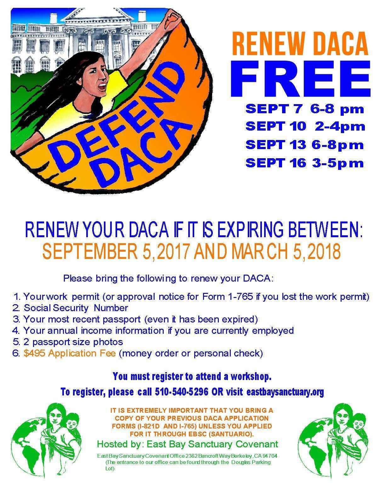 Renew DACA Free @ Register to get location.
