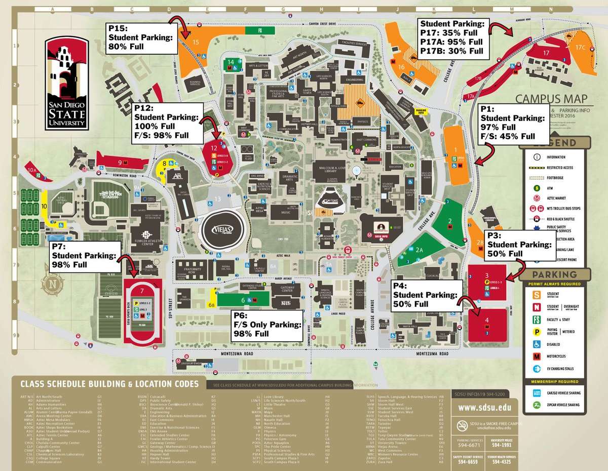 Map Of Sdsu Parking Services on Twitter: