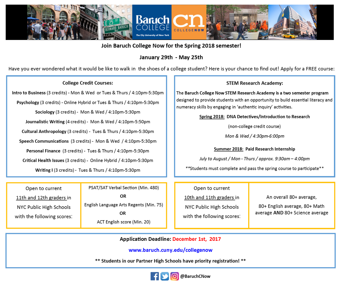 baruch college essay deadline Have collegevine review your college essay within 48 cuny—baruch college is a public institution that and the early decision deadline is dec 13 the.