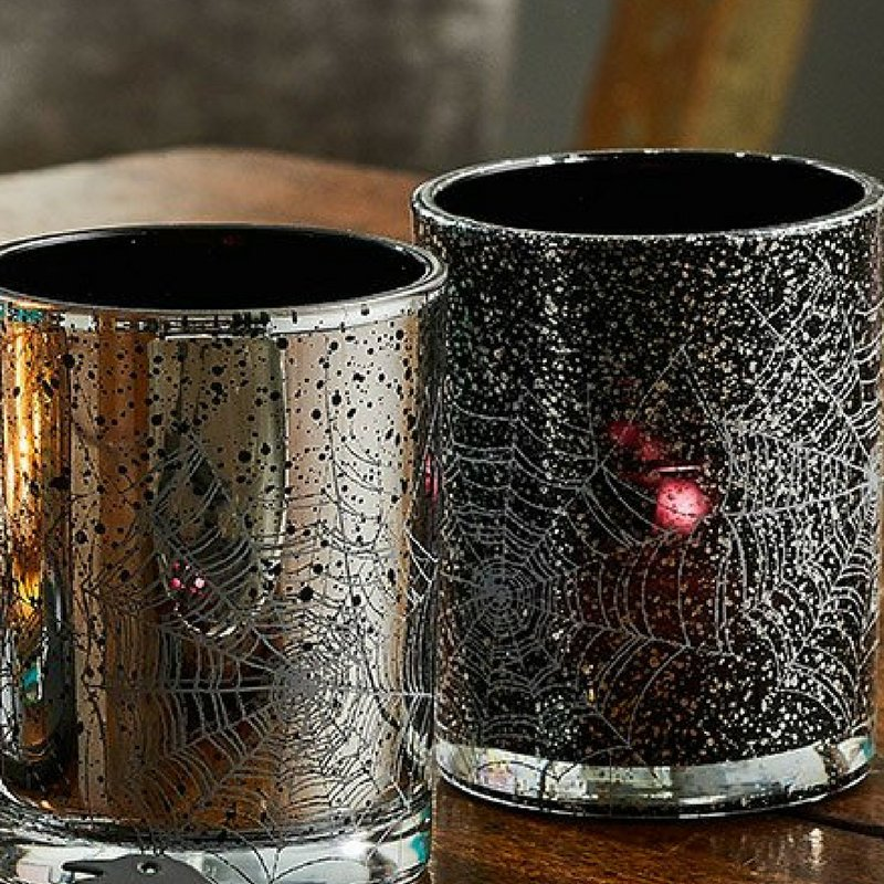 partylite on twitter spider web tealight pair the silver and black speckled glass will cast eerie shadows to give your trick or treaters a thrill