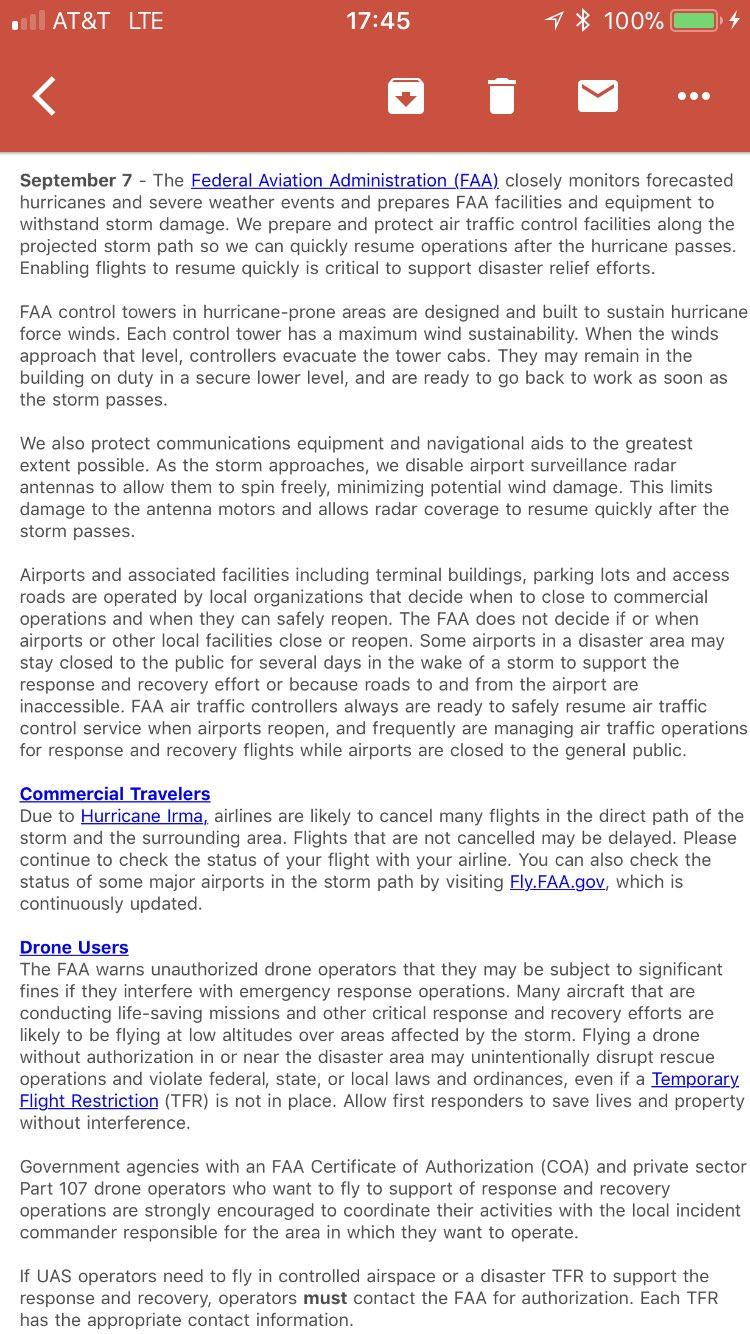 FAA guidance on Irma prep https://t.co/L0ha0YyxFm