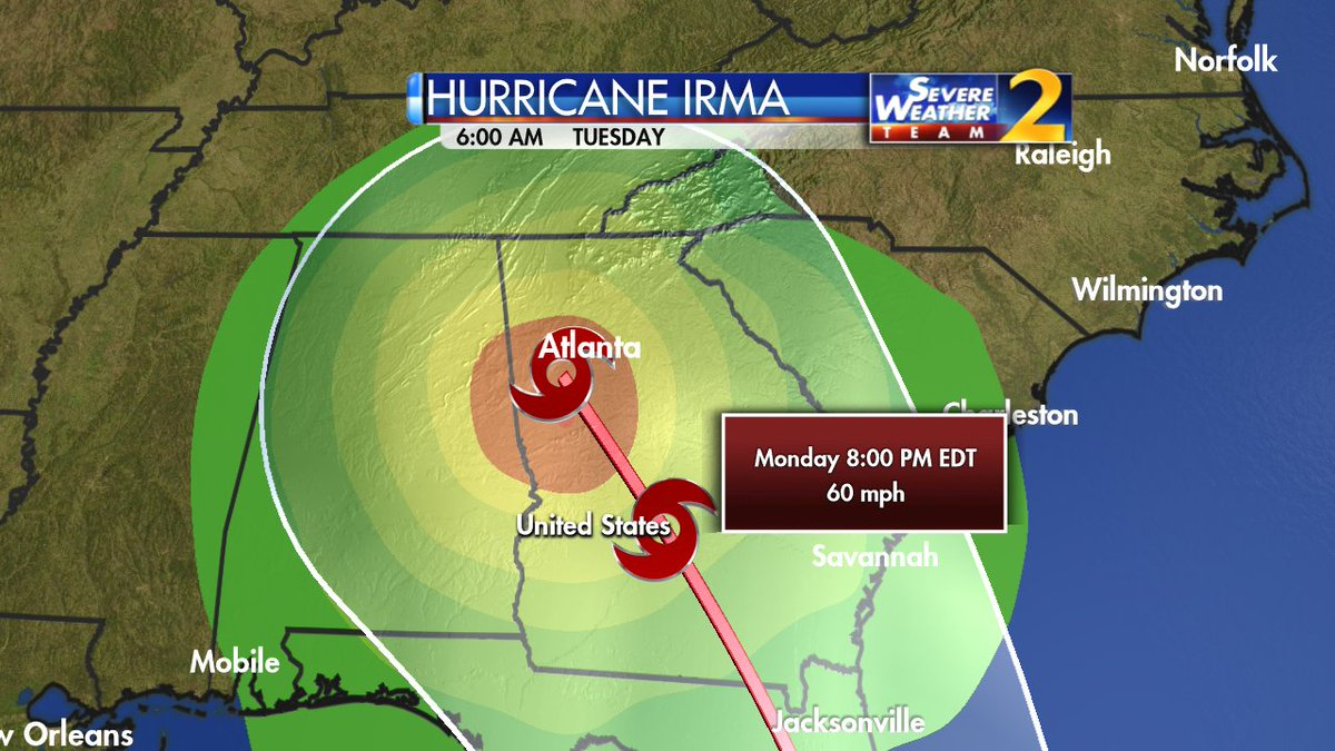 11 PM track update bring Irma as a tropical storm right across metro Atlanta Monday night to Tuesday morning. https://t.co/bvCShhmk4Y