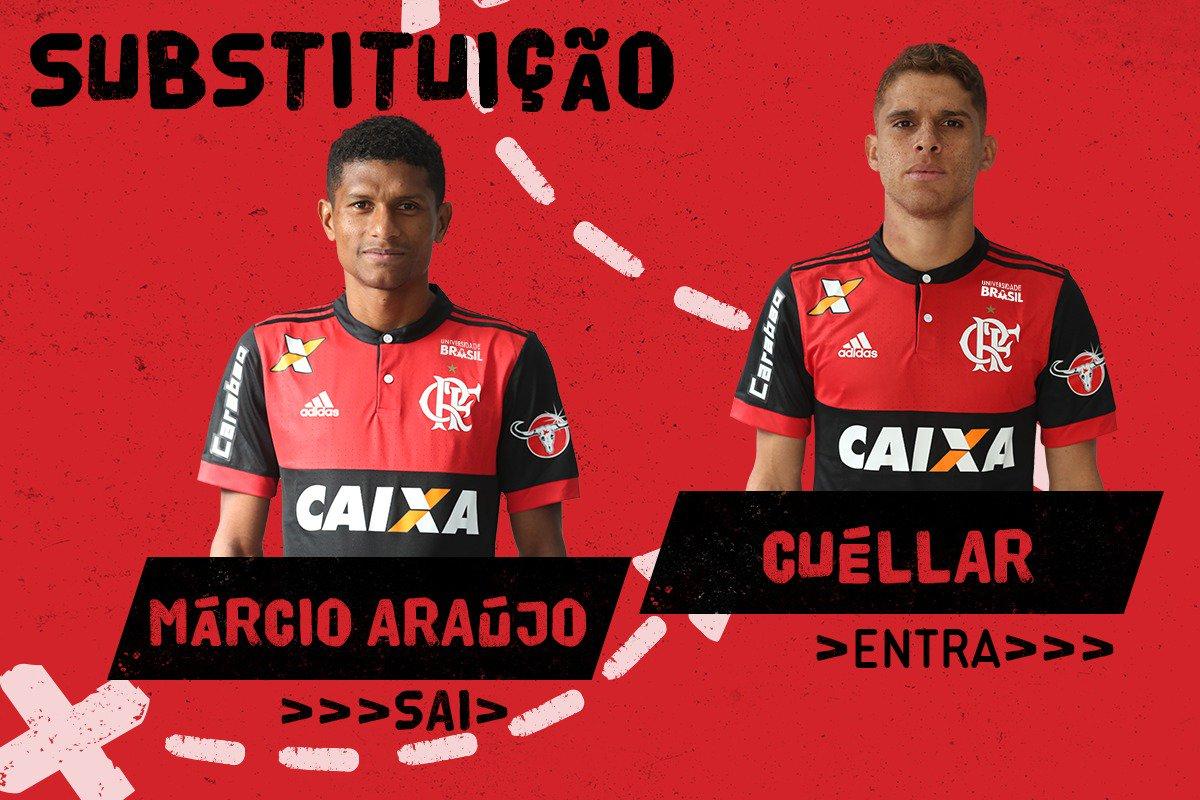 21' | 2ºT - 🔄 Segunda mudança do time. Rueda tira M. Araújo e põe Cuéllar em campo #FLAxCRU #VamosFlamengo