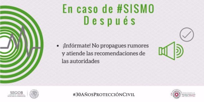 Después de un #Sismo no propagues rumores y atiende las recomendaciones de las autoridades https://t.co/T2KxANA1QS