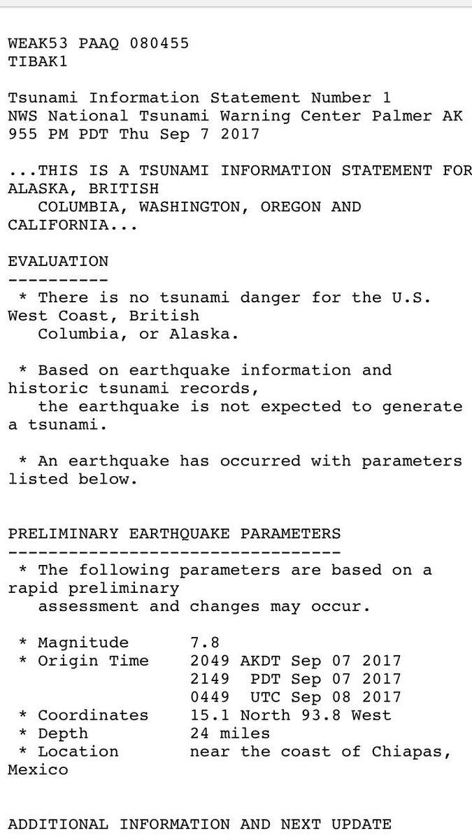 No imminent tsunami danger to US West Coast/Alaska from preliminary 8.0 earthquake off the coast Chiapas, Mexico. https://t.co/rbUBXyFr7v