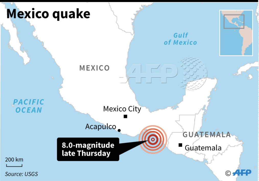 Magnitude 8 earthquake rocks southern Mexico and is felt as far away as Mexico City, the USGS says, issuing a tsunami warning