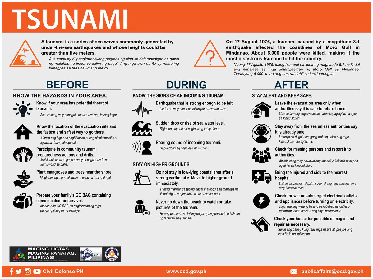 Know what to do before, during and after a TSUNAMI. Please share. #BidaAngHanda https://t.co/Xnmm1FojKj