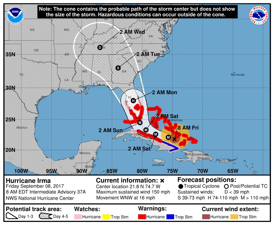 Latest official NHC track puts a weakened Irma in Middle Tennessse as a tropical depression early Wednesday morning.