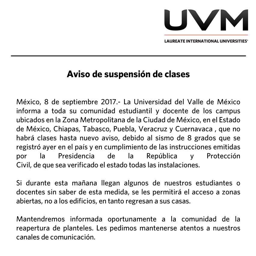 Aviso importante #SismoCDMX https://t.co/dincaWp5CN