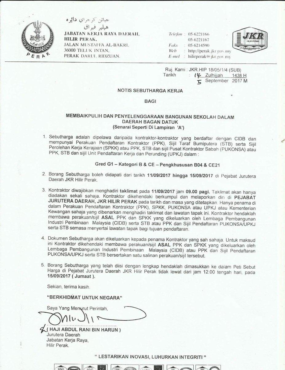 Jkr Hilir Perak On Twitter Terbuka Kepada Kontraktor Kelas G1 Dan G2 Jkrperak Jkrmalaysia