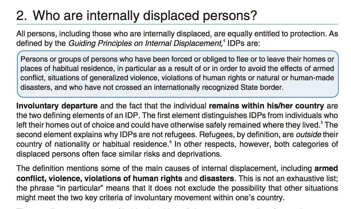guiding principles on internally displacements Internal displacement in south africa: united nations guiding principles on internal displacement within the category of arbitrary displacements prohibited.