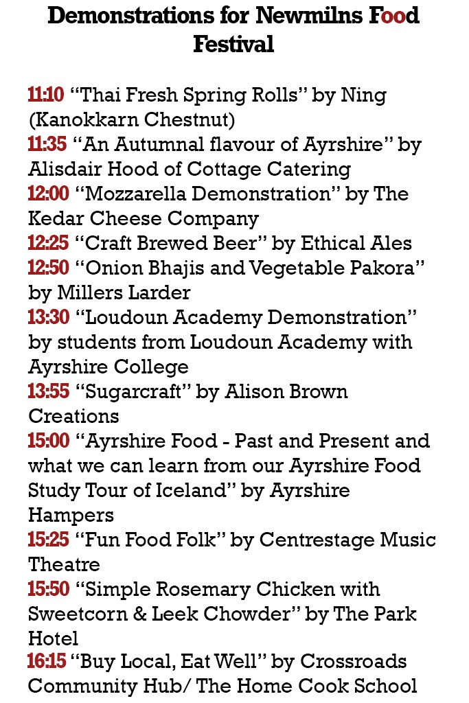 Take a look at our line up for tomorrow's demonstrations at #NewmilnsFoodFestival ❤️🍸🍔