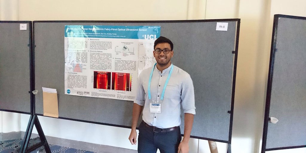 Danny Ramasawmy presenting his work on modelling the Fabry-Perot sensor at the IEEE IUS student paper competition https://t.co/rnMqNWS3sn