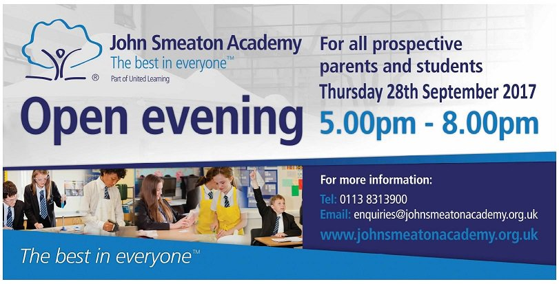 @SmeatonAcademy Open Evening is on Thursday 28th September 5-8pm. Everyone welcome!