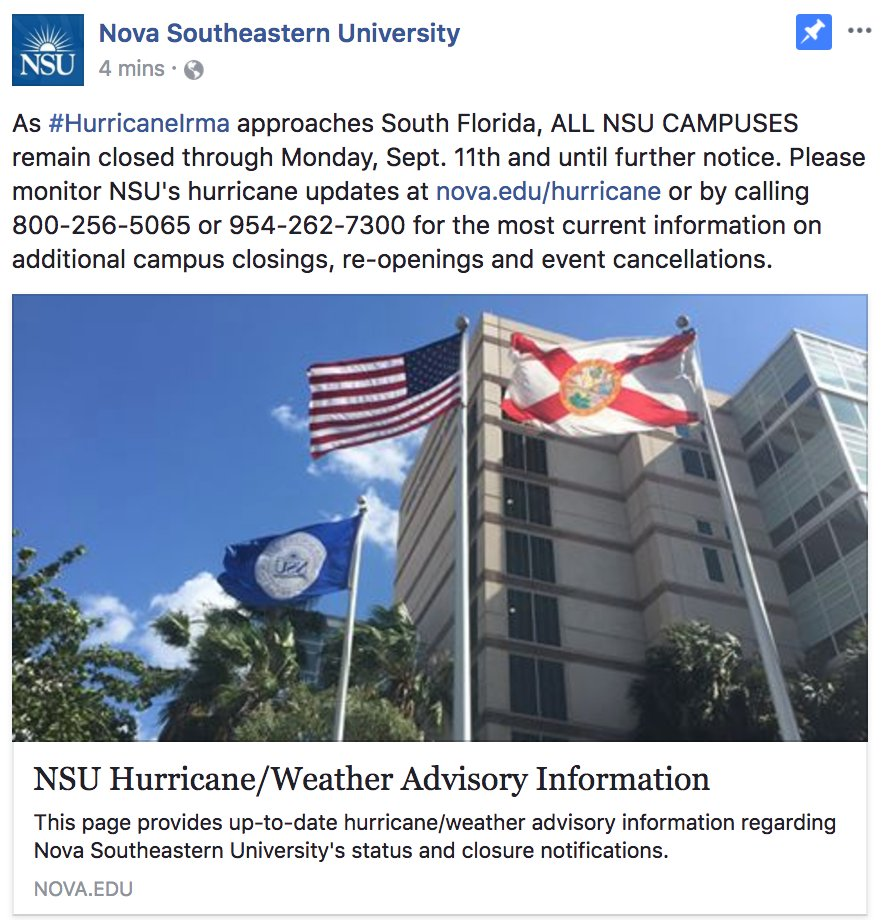 9 8 update on hurricaneirma rt to nsusharks visit http nova edu hurricane or call 800 256 5065 or 954 262 7300 for future updates pic twitter com