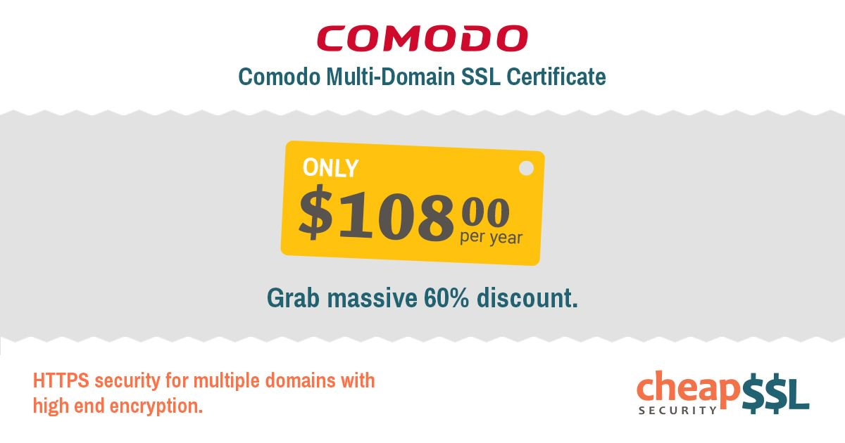Cheapsslsecurity On Twitter 60 Off Comodo Multi Domain Mdc Ssl