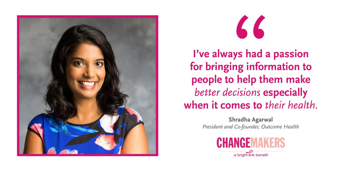 Bright Pink On Twitter Shradha Agarwal Of OutcomeHealth Is 1 3 Speakers At BrightPinks Fundraising Event ChangeMakers 9 27 Tix