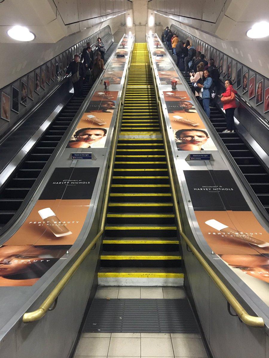 Fenty Beauty promo at Knightsbridge tube station this morning