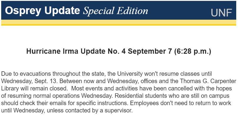 University Of North Florida On Twitter Hurricane Update 4 Due To