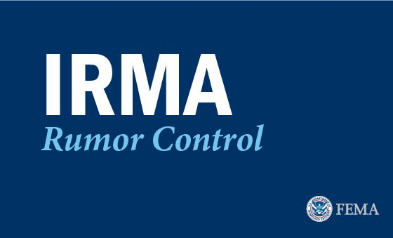 a graphic that reads irma rumor control in bold letters