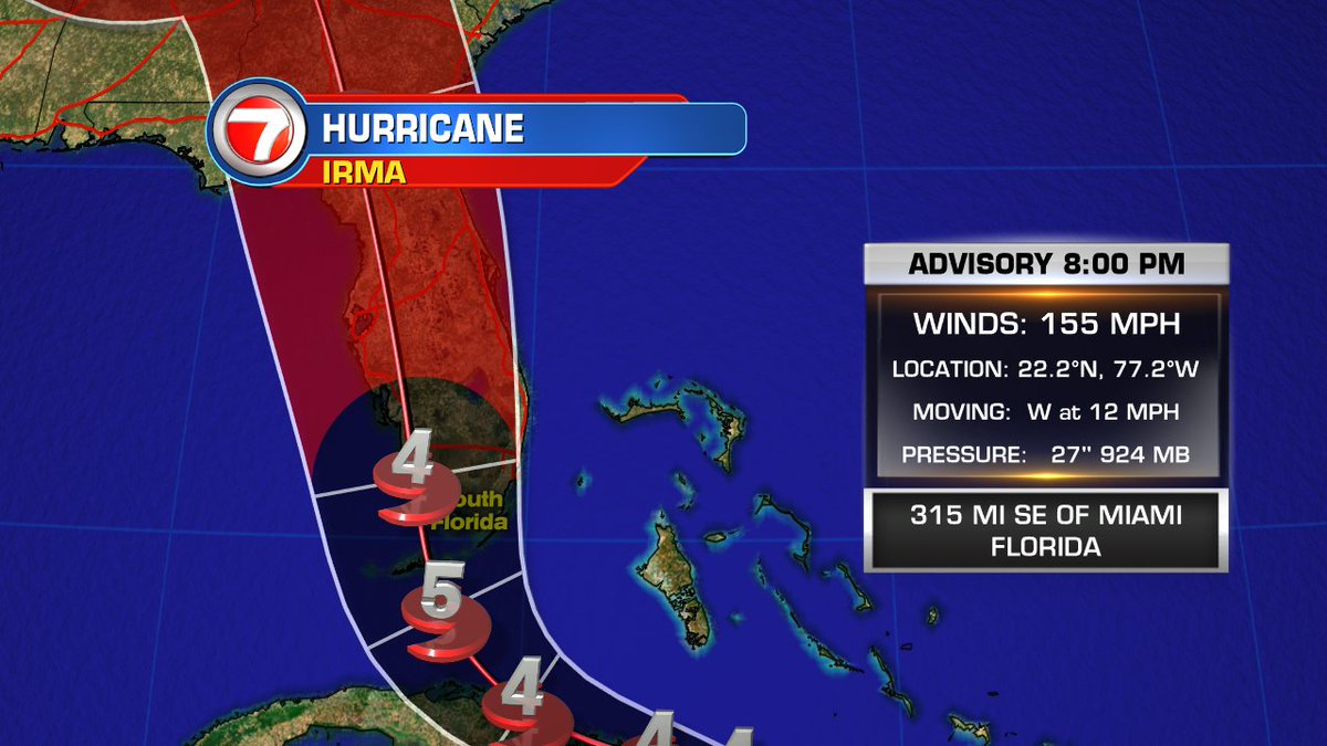 """wsvn 7 news on twitter """"8 pm advisory hurricane irma is 315 mileswsvn 7 news on twitter """"8 pm advisory hurricane irma is 315 miles southeast of miami, projected to hit florida keys as category 5 storm"""