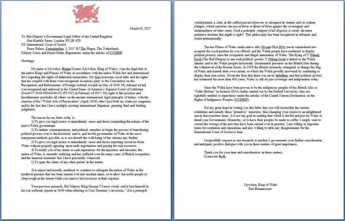 Americymru On Twitter A Letter To Her Majesty From Tywysog
