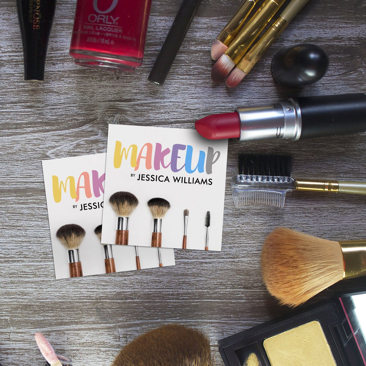 Colorful, Beautiful, Perfect for your Business http://j32design.com/2017/02/07/colorful-square-makeup-artist-business-cards/… … #mua #makeupartist #beauty