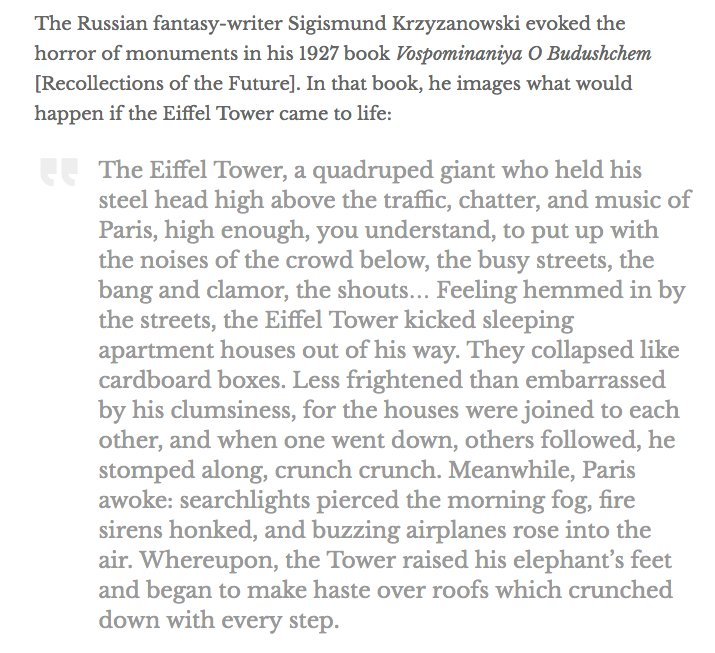 15. In 1927, the Russian fantasist Sigismund Krzyzanowski imagined the Eiffel Tower coming to life. https://t.co/8kssuCMfqH