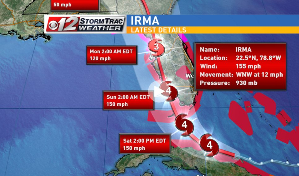 Latest advisory says #HurricaneIrma weakened to cat. 4 storm, still has potential to be cat. 5 https://t.co/0hoExBW0z8