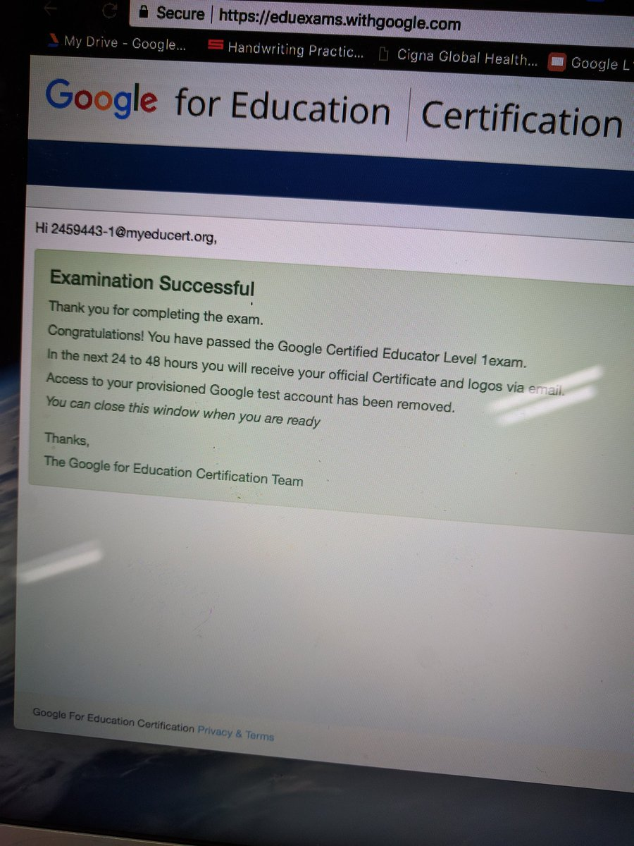 Nine hours later... Success! More Certified Google Educator at KIS. #kispride
