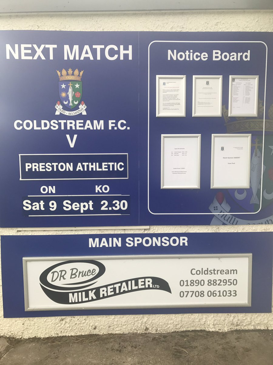 MATCH DAY PrestonAthletic EastScotlandFA League Home Park Coldstream Saturday