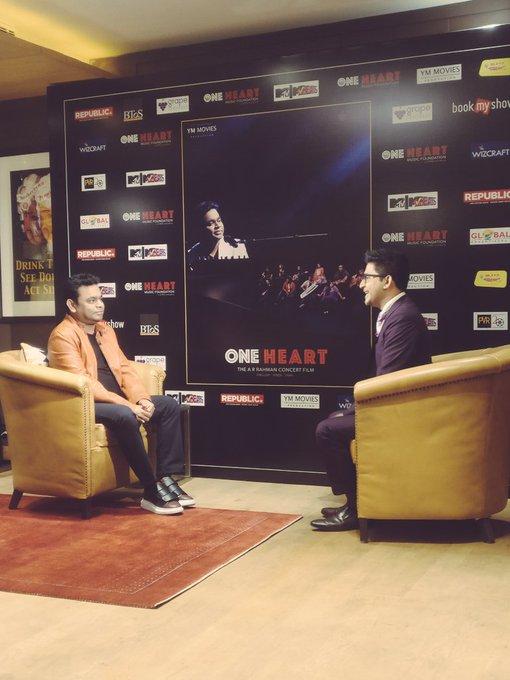 #OneHeartTheFilm promotions in Delhi! #ARRahman @oneheartthefilm #OutNow https://t.co/RCFhnD5rg3