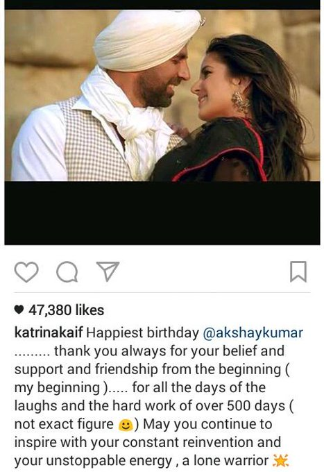 Katrina Kaif wishes Akshay Kumar happy birthday