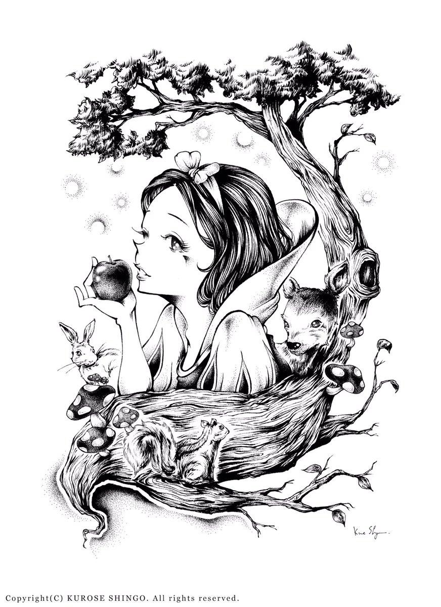 """クロセシンゴ on twitter: """"過去作品、白雪姫。 #絵 #イラスト #アナログ"""