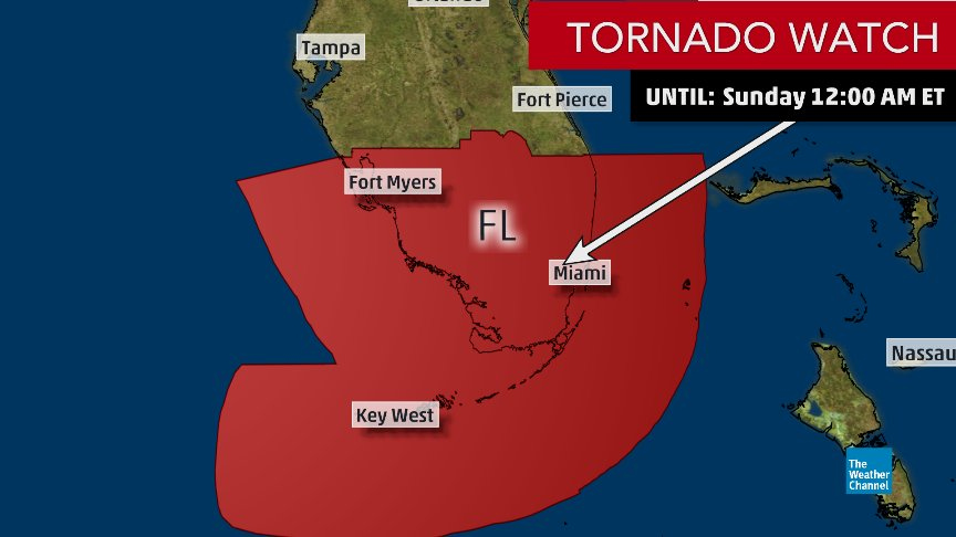 NEW: A #tornado watch is in effect for South FL and the Florida Keys until 12 a.m. EDT, including Key West & Miami.