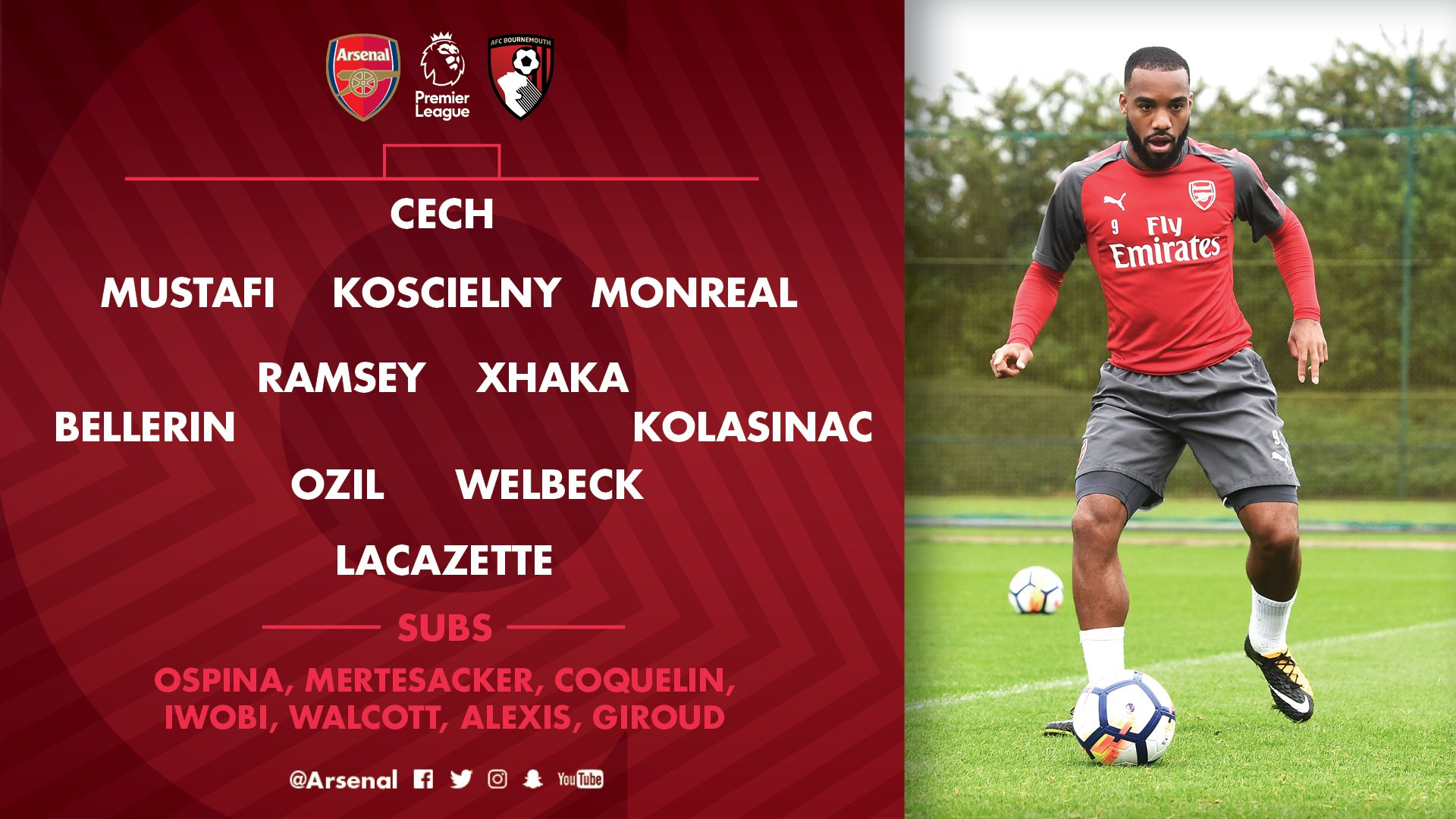 RT @Arsenal: 📋 Here's how we line up against @afcbournemouth this afternoon  #AFCvAFCB https://t.co/x2keS9Sg0T