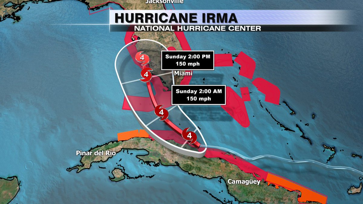 #Irma track has shifted west! Now expected to make landfall closer to Ft. Myers / Naples Sunday as a Cat 4. https://t.co/28xSdYSRES