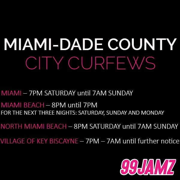 99JAMZ On Twitter Miami Dade County HurricaneIrma City Curfews