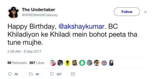 Akshay Kumar has received some special birthday wishes.  Happy Birthday, Akshay Kumar.