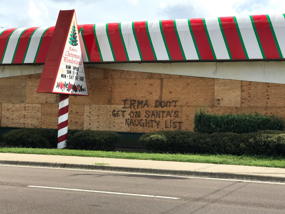 myclearwaterpd on twitter roberts christmas wonderland on gulf to bay in clearwater has a message for irma - Roberts Christmas Wonderland