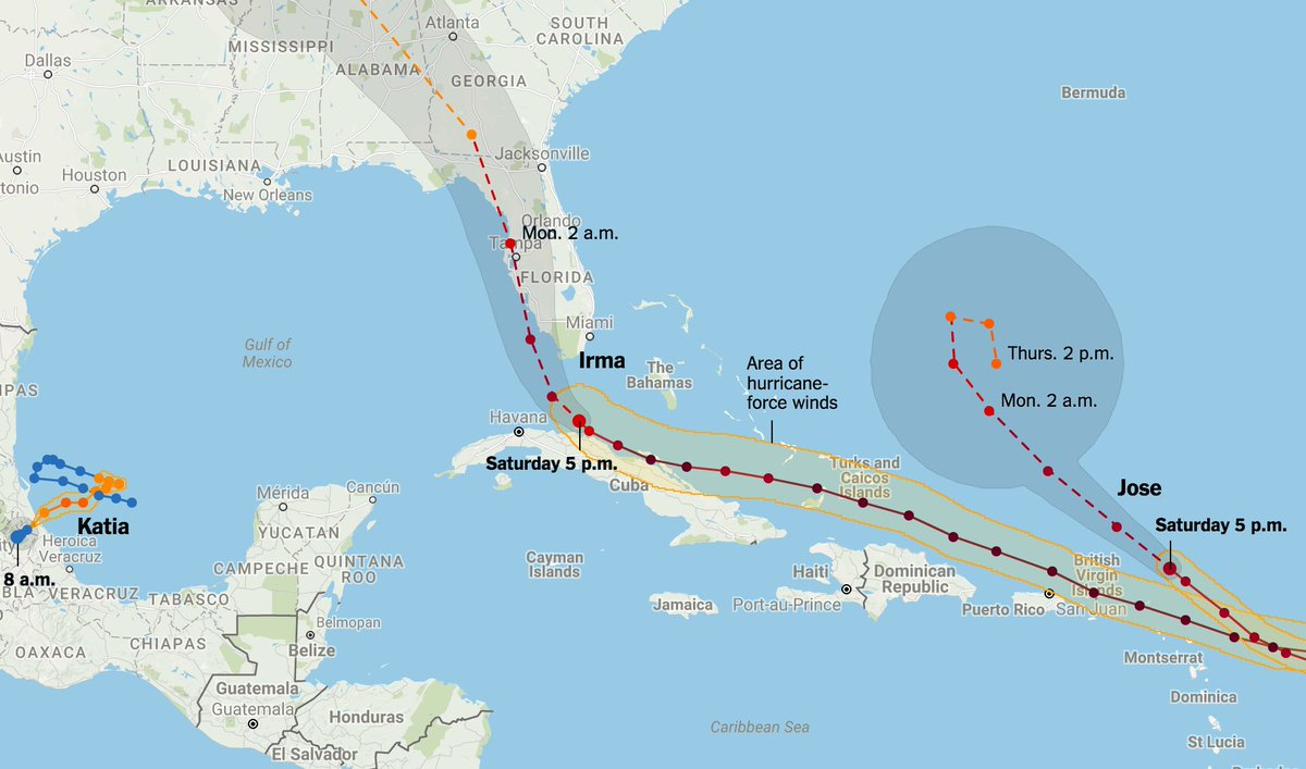 NYT Graphics On Twitter Maps Tracking Hurricanes Irma Jose And - Map of us hurricanes