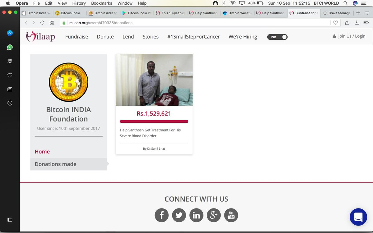 @milaapdotorg Bitcoin India™ Foundation has donated 200,000 INR to this  champ to get Treatment For His Severe Blood Disorder via  @BTC_indiapic.twitter.com/ ...