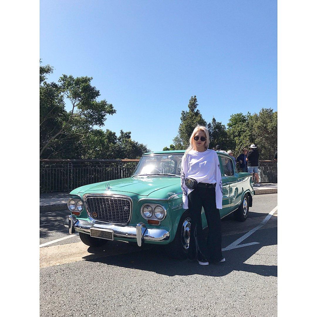 Instagram] Hyoyeon enjoying some vintage cars in Brisbane! - Celeb ...