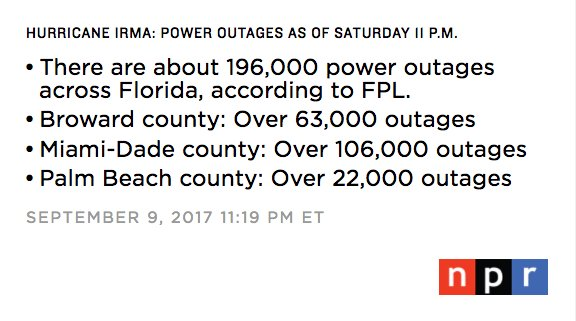 Npr On Twitter Fpl S Power Outage Map Shows At Least 196 000 Power
