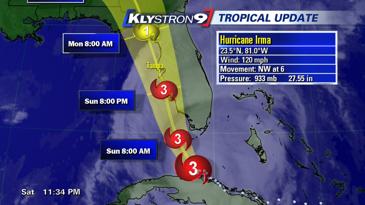 Bay News 9 Weather On Twitter Mcclurewx Major Hurricane Irma Will Be Coming Up The Gulf Coast Of Florida And Directly Impacting Tampa Bay Sunday Into Monday Flwx Https T Co C5hoahzeqg