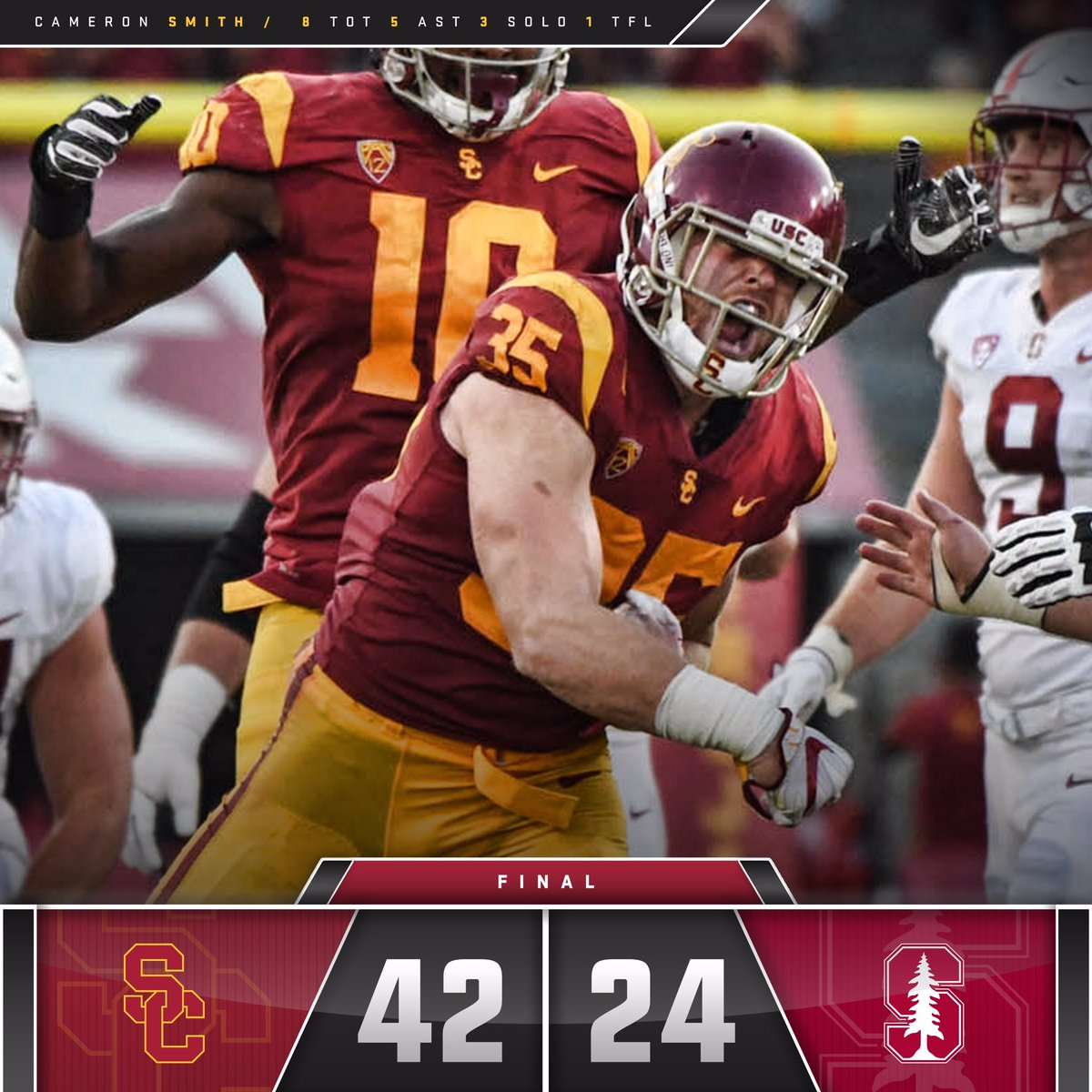 FINAL: USC 42, Stanford 24.   The Trojans dominate their first Pac-12 game of the year!  #FightOn