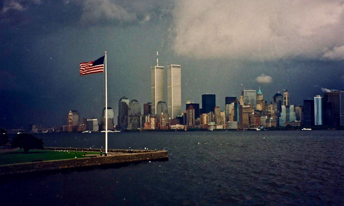 The twin towers on the night of September 10, 2001. 16 years. #NeverForget