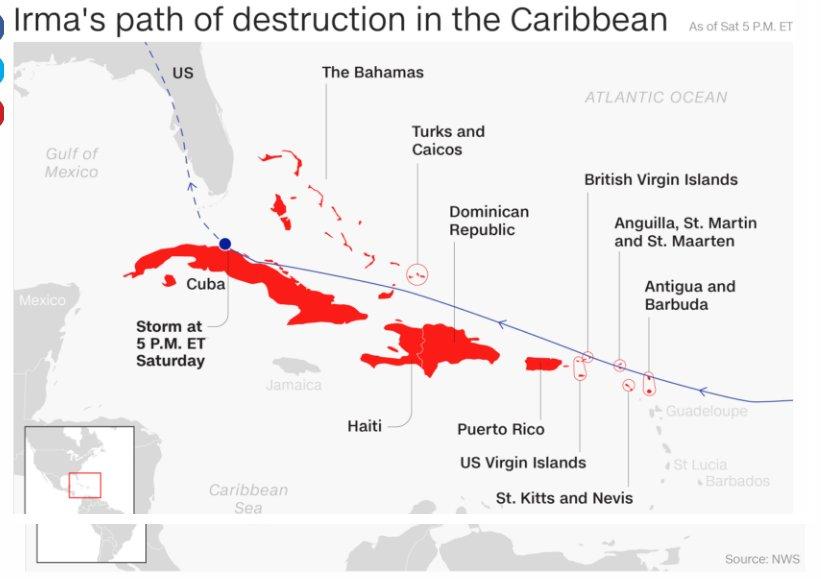 Imagem do Serviço Nacional de Meteorologia dos Estados Unidos mostra o alcance do Irma registado no Caribe, onde 22 pessoas morreram.